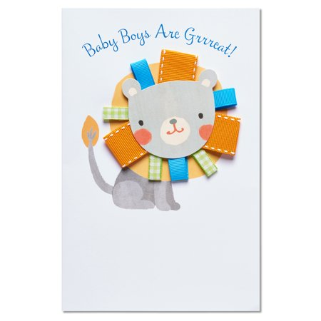 american greetings lion new baby boy congratulations card with ribbon