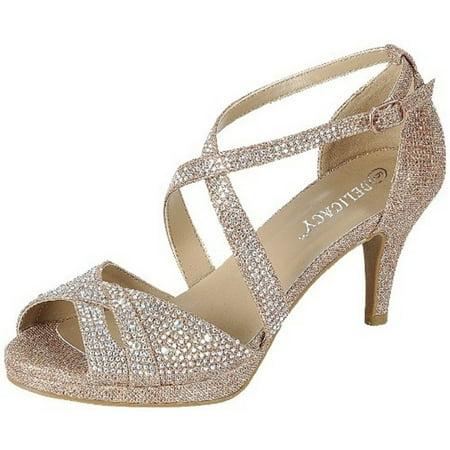 Delicacy - Excited-90 Women Party Evening Dress Bridal Wedding Rhinestone  Platform Kitten Low Heel Sandal Shoes Rose Gold - Walmart.com