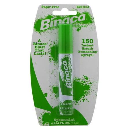 4 Pack - Binaca Aerosol Breath Spray SpearMint 0.20oz Each