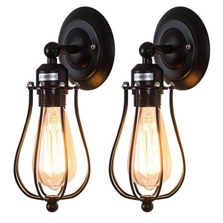 Moaere Wire Cage Wall Sconce LED Dimmable Metal Industrial Wall Light Shade Vintage Style Edison Mini Antique Fixture for Headboard Bedroom Porch Mirror Not Include Bulb