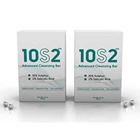 2 Pack - 10S2, 2% Salicylic Acid, 10% Sulfur Bar Soap, Anti-Fungal Antiseptic Facial Acne, Foot, Scalp & Body Soap, No Perfumes, No Fragrance, All Natural Scent ()