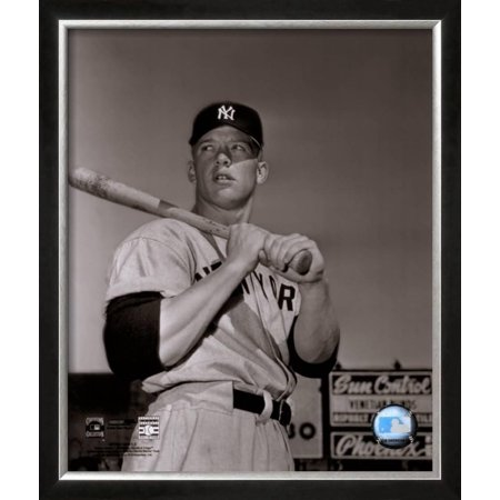 Mickey Mantle- With Bat Looking Towards His Right Framed Photographic Print Wall Art