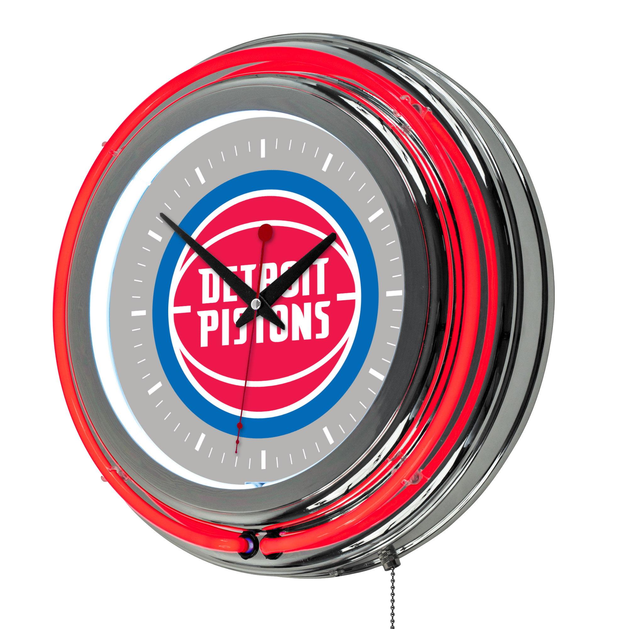 "Detroit Pistons NBA 14"" Neon Wall Clock"
