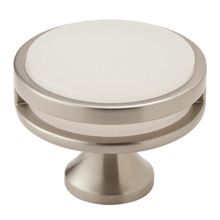 Oberon 1-3/4 in (44 mm) Diameter Satin Nickel/Frosted Cabinet Knob