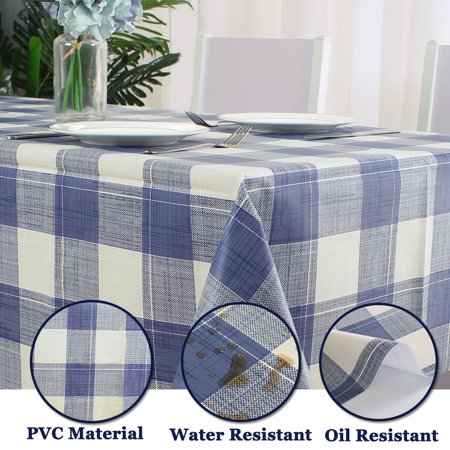 "Tablecloth PVC Oil Stain Resistant Plaid Pattern for Rectangle Table 39""x63"",#7 - image 4 of 7"