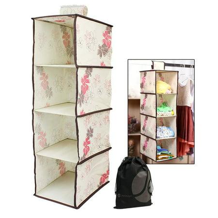 javoedge beige pink floral pattern 4 shelf collapsible. Black Bedroom Furniture Sets. Home Design Ideas