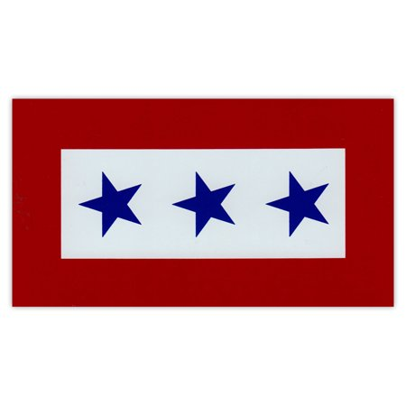 Magnetic Bumper Sticker - Blue Star Service Flag - 3 Blue Stars - United States Military Service - 5.5