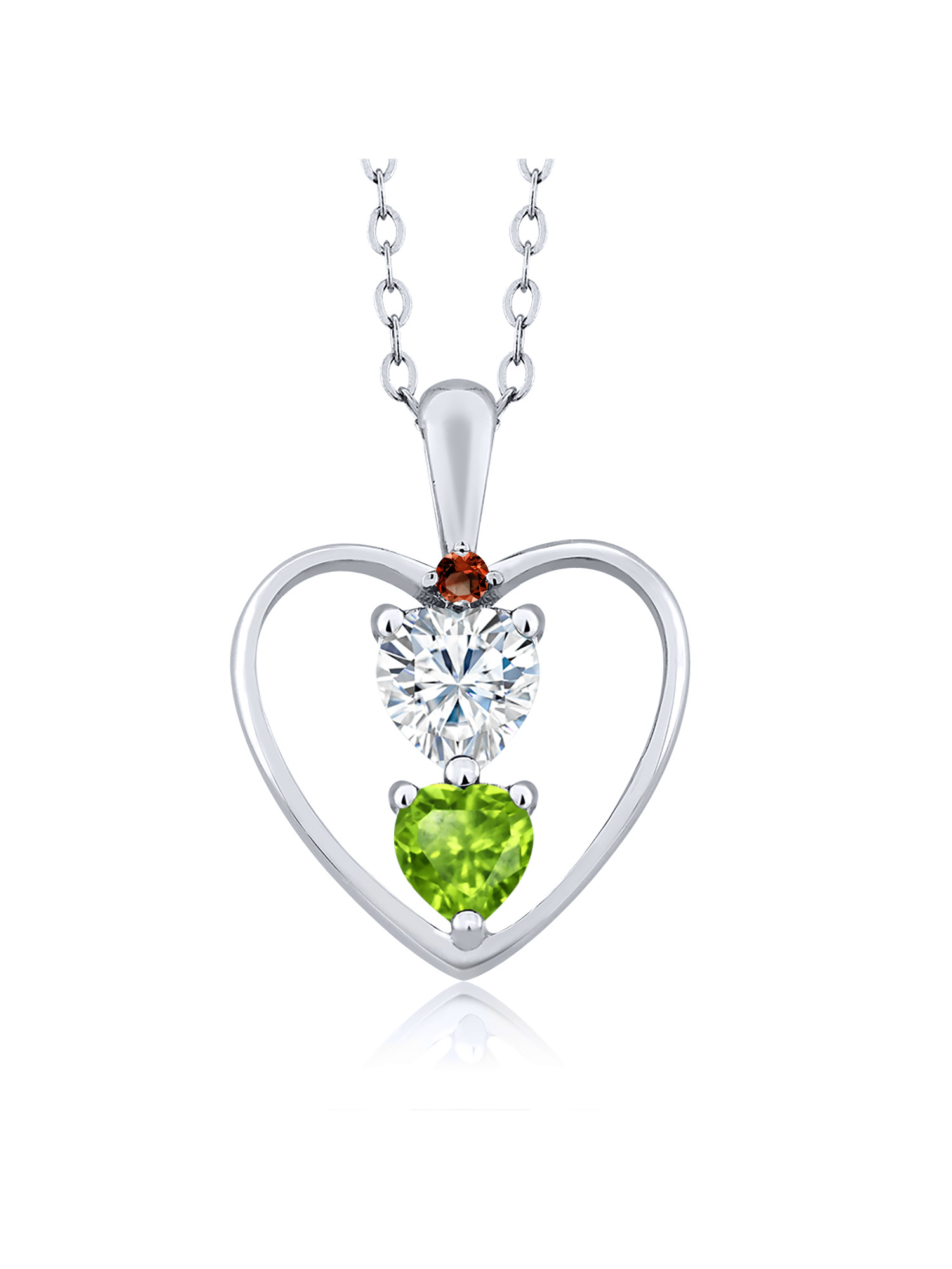 GHI DEW 18K Yellow Gold Plated Silver Pendant Forever Brilliant Created Moissanite by Charles /& Colvard and Garnet Heart Shape 0.50ct
