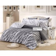 Swanson Beddings Tree Branches 100% Cotton Sheet Set : Fitted Sheet, Flat Sheet and Two Matching Pillowcases (White-Grey, Queen)