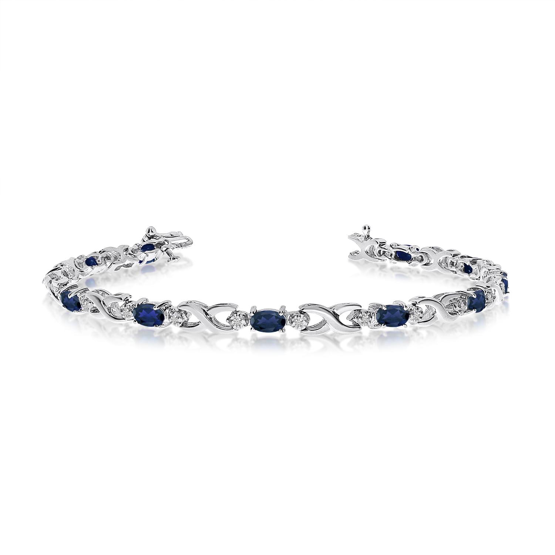 10K White Gold Oval Sapphire and Diamond Bracelet by