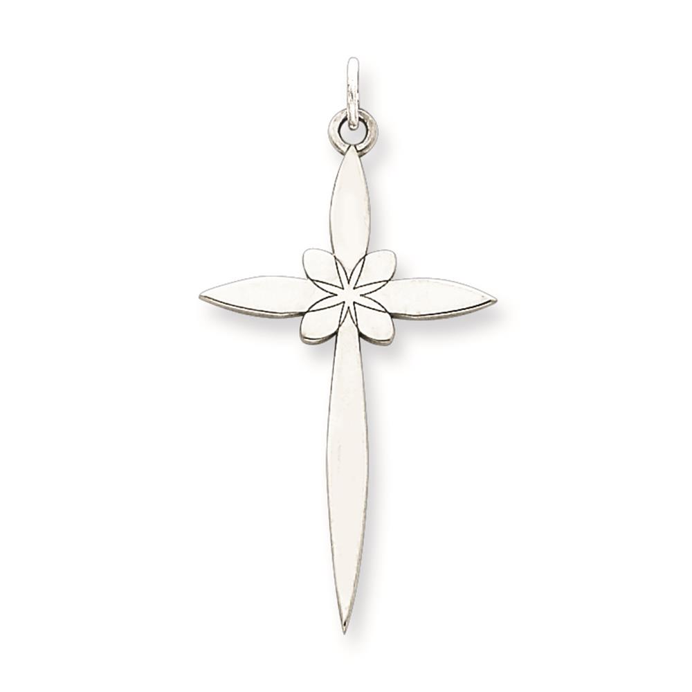 Laser Etched Cross Charm Pendant 30mmx16mm 925 Sterling Silver