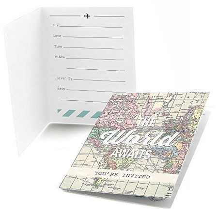 World Awaits - Travel Themed Party Fill In Party Invitations (8 count) - Hollywood Theme Invitation