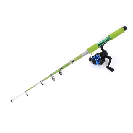 2 1 meter 6 sections telescopic fishing pole rod green w for Green fishing rod
