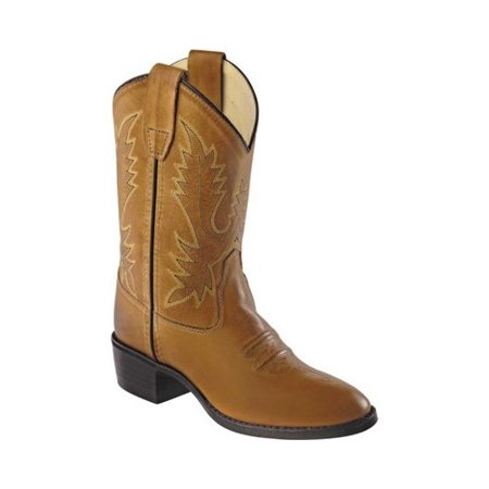 - old west boys' corona calfskin cowboy boot round toe tan 12 d(m) us