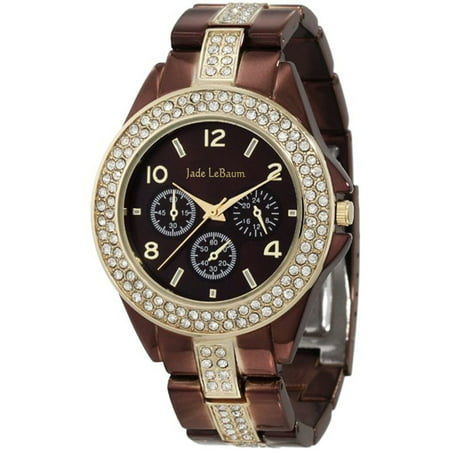 Womens Chocolate Brown Watch Large Face Rhinestone Accent Bracelet Reloj de
