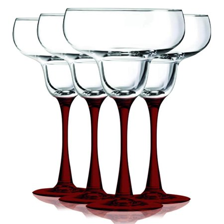 Red Margarita Glasses with Beautiful Colored Stem Accent - 14.5 oz. set of 4- Additional Vibrant Colors Available by TableTop - Huge Margarita Glasses