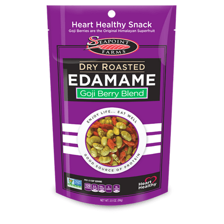 Seapoint Farms Dry Roasted Edamame, Goji Blend, 3.5 Ounce Pouches