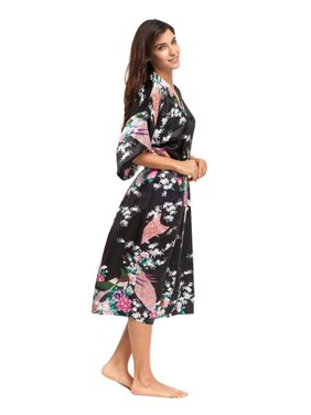 Womens Floral Silk Satin Kimono Bathrobe Robe Wedding Bride Bridesmaid Sleepwear