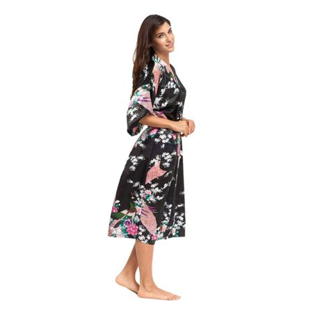 Womens Floral Silk Satin Kimono Bathrobe Robe Wedding Bride Bridesmaid - Trendy Robes