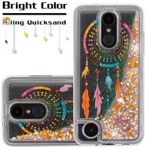 For LG Aristo 2 / LG Zone 4 (2018) / LG Tribute Dynasty / LG K8 (2018) / LG Fortune 2 Case Hybrid Quicksand Liquid Glitter TPU Phone Cover (Dreamcatcher & Gold Quicksand (Stars) Glitter)