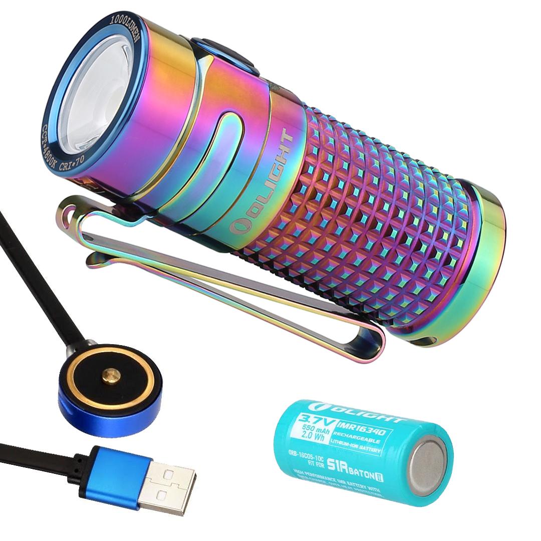Olight S1R Baton II 1000 Lumen Limited Titanium Edition Rechargeable Flashlight (Spring)