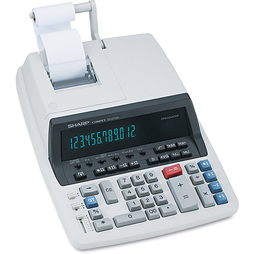 Sharp QS-2770H Desktop Calculator, 12-Digit Fluorescent, Two-Color Printing, Black/Red