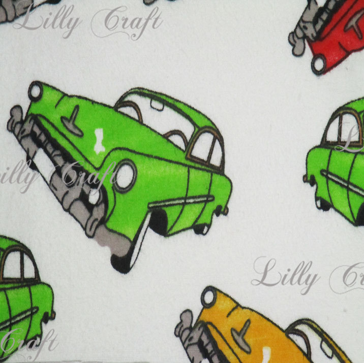 Flannel Classic Cars on White 45 Inch Fabric by the Yard