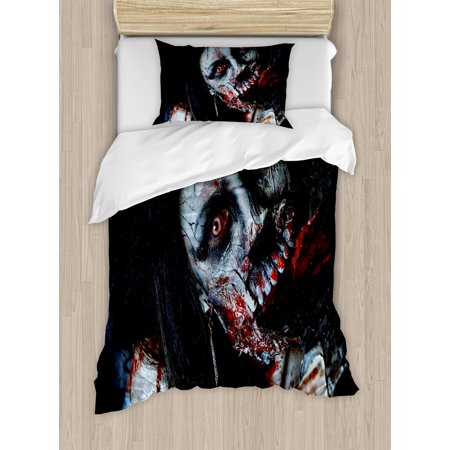 Zombie Decor Twin Size Duvet Cover Set, Scary Dead Woman with Bloody Axe Evil Fantasy Gothic Mystery Halloween Picture, Decorative 2 Piece Bedding Set with 1 Pillow Sham, Multicolor, by Ambesonne