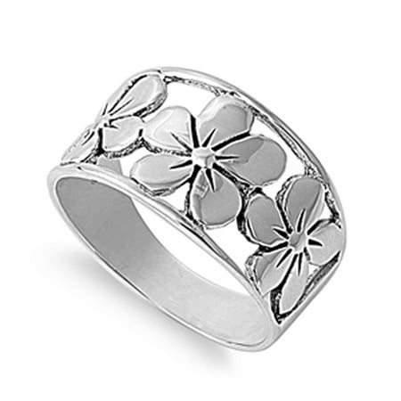 Flower Rhinestone Fashion Ring (Sterling Silver Women's Plumeria Flower Fashion Ring ( Sizes 5 6 7 8 9 10 11 12 ) Fashion Band Rings by Sac Silver (Size 10) )