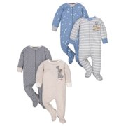 Wonder Nation Baby Boy Pajamas Zip-up Sleep 'N Play Sleepers, 4-Pack