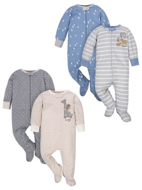 Wonder Nation Zip-Up Sleep 'N Play Pajamas, 4pk (Baby Boys)