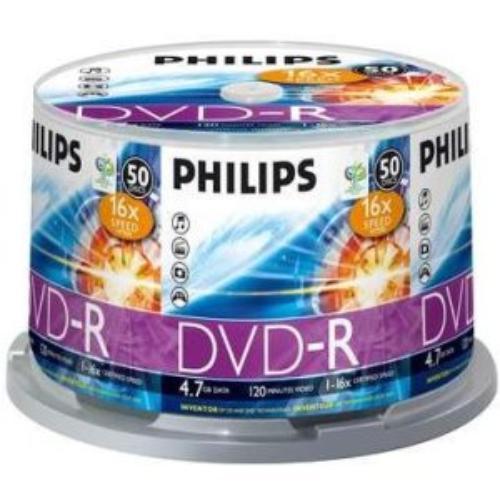 Philips Dm4s6b50f/17 4.7gb 16x Dvd-r 50 Pk Cake Box Spindle