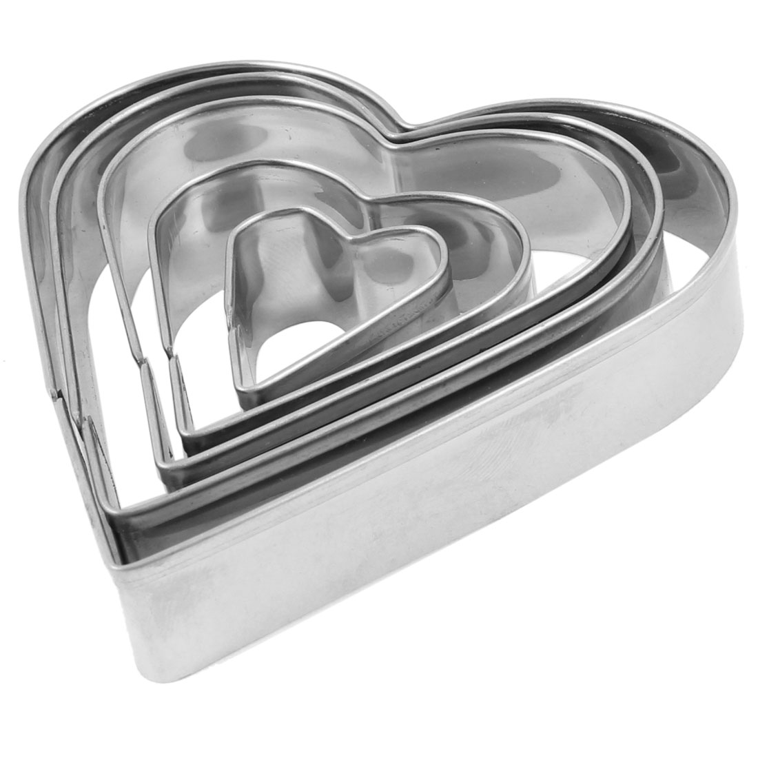Unique Bargains 5pcs Heart Shape Kitchen Bakeware Pastr Biscuit Baking Cutter