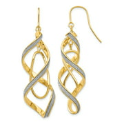 14K Yellow Gold Glitter Infused Spiral Dangle Shepherd Hook Earrings