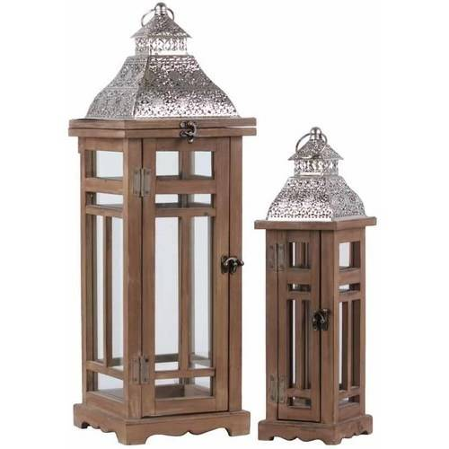 Urban Trends Collection: Wood Lantern Weathered Wood Finish