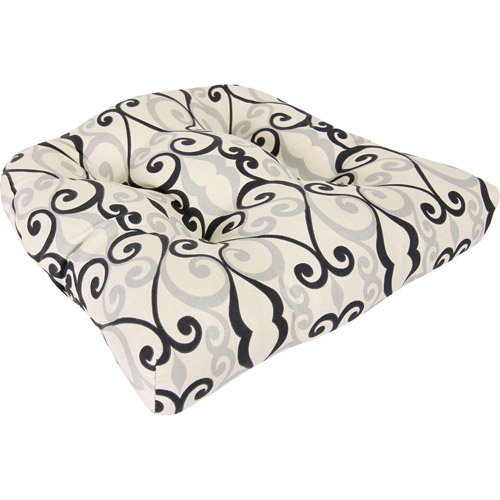 Tufted Wicker Outdoor Seat Cushion, Multiple Patterns