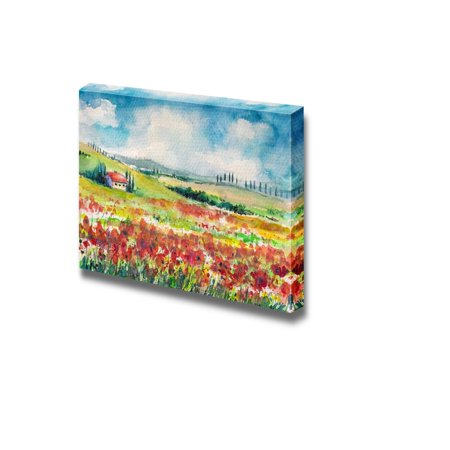 Wall26 Field of Fresh Red Carnations under a Beautiful Blue Sky Painting - Canvas Art Wall Decor - 24