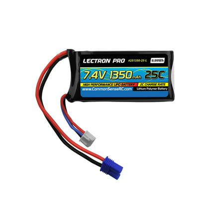 2-Pack of Lectron Pro 7.4 volt - 1350mAh 25C Lipo Packs with EC2 Connectors for HobbyZone Delta Ray and Firebird Stratos