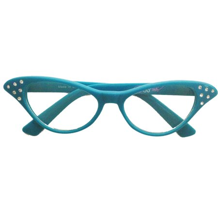 Adult - 50's Cateye Rhinestone Glasses - Teal](50s Style Glasses)