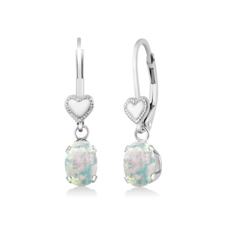 1.26 Ct Oval Cabochon White Simulated Opal 925 Sterling Silver Heart Shape Lever Earrings