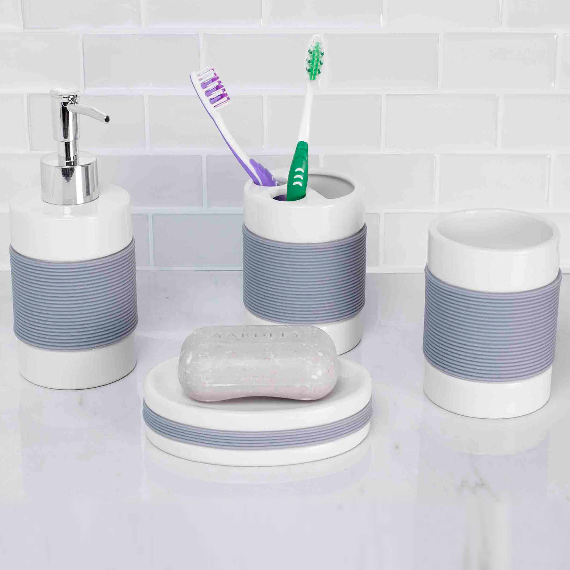 Home Basics White Ceramic Accessories With Rubber Grip 4 Piece Set