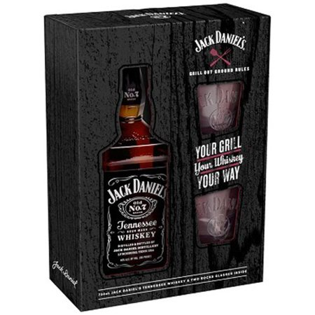 Jack Daniel's Tennessee Sour Mash Whiskey with Two Rocks Glasses Gift Set, 3 pc - Walmart.com