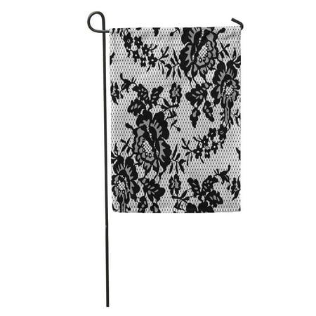 LADDKE Floral Black Lace Pattern Flower Drawing Ornamental Beautiful Baroque Vintage Garden Flag Decorative Flag House Banner 12x18 inch