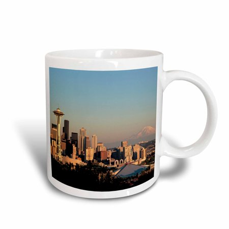 3dRose View from Kerry Park, Mt Rainier, Seattle, WA - US48 JWI0875 - Jamie and Judy Wild, Ceramic Mug,