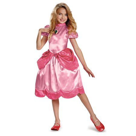 Girls Princess Peach Classic Halloween Costume (Mario And Princess Peach Dress Up Games)