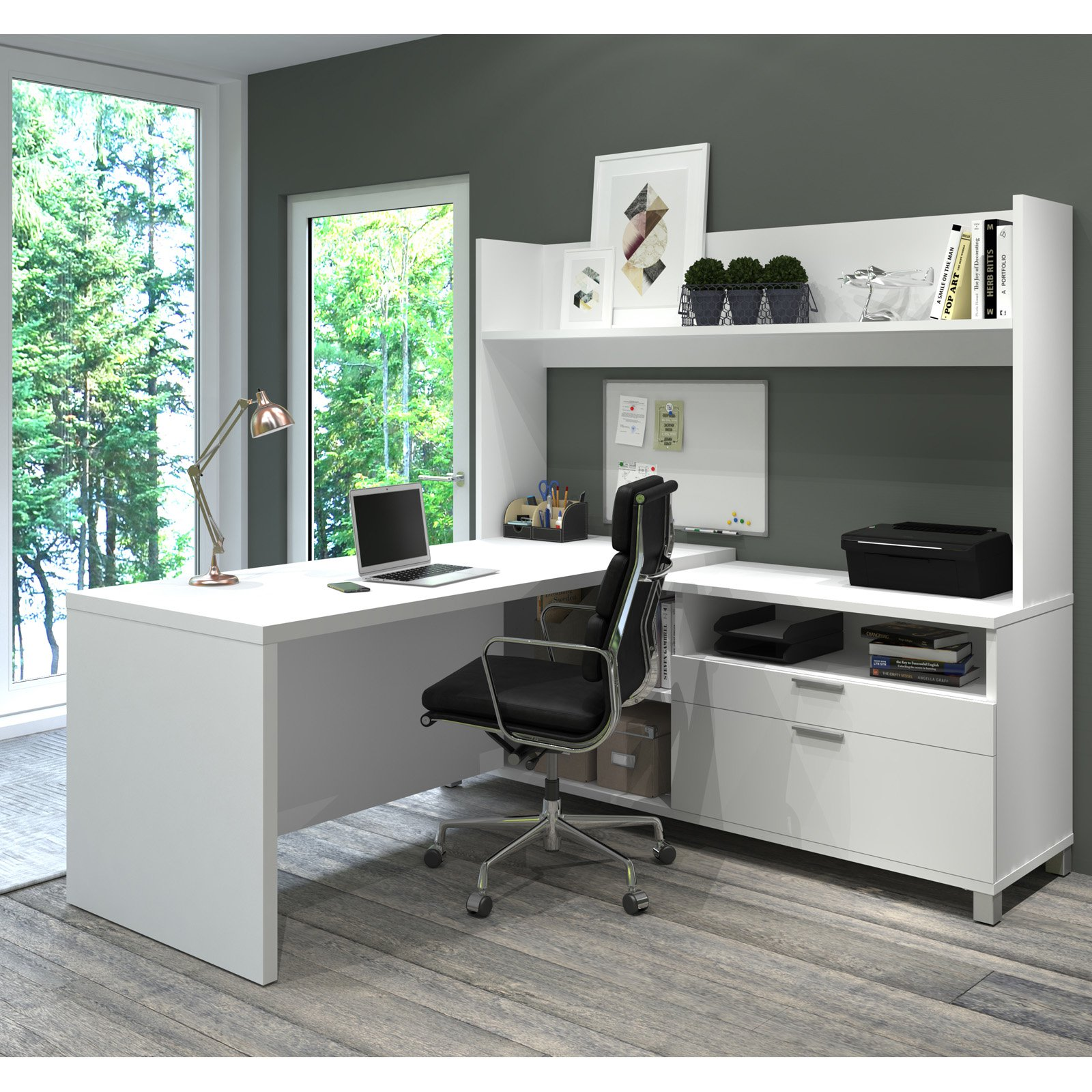 Pro-Linea L-Desk with Open hutch in White