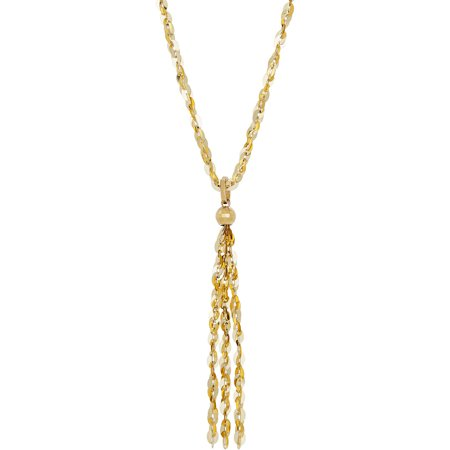 Simply Gold 10Kt Yellow Gold Limited Edition 2 In 1 Tassel Necklace  18   Removable Tassel