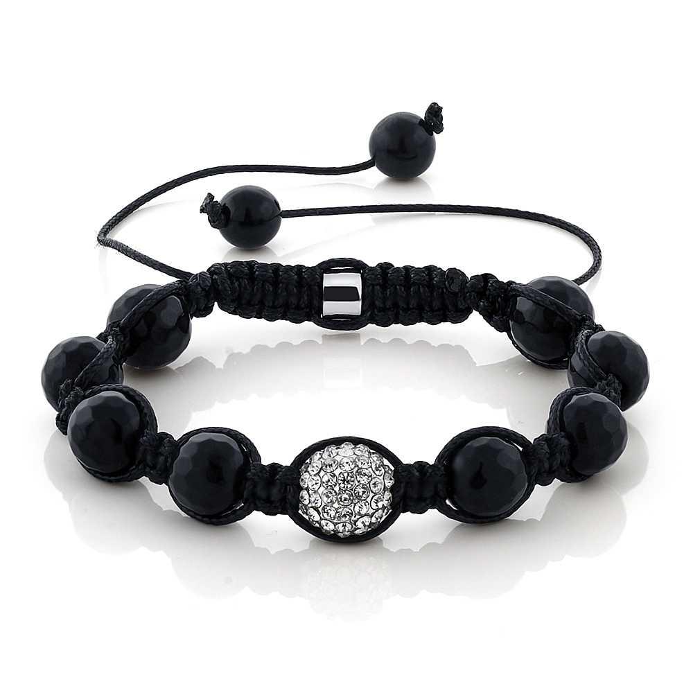 White 10mm Disco Ball Adjustable Beaded Bracelet Hip Hop + Gift Box