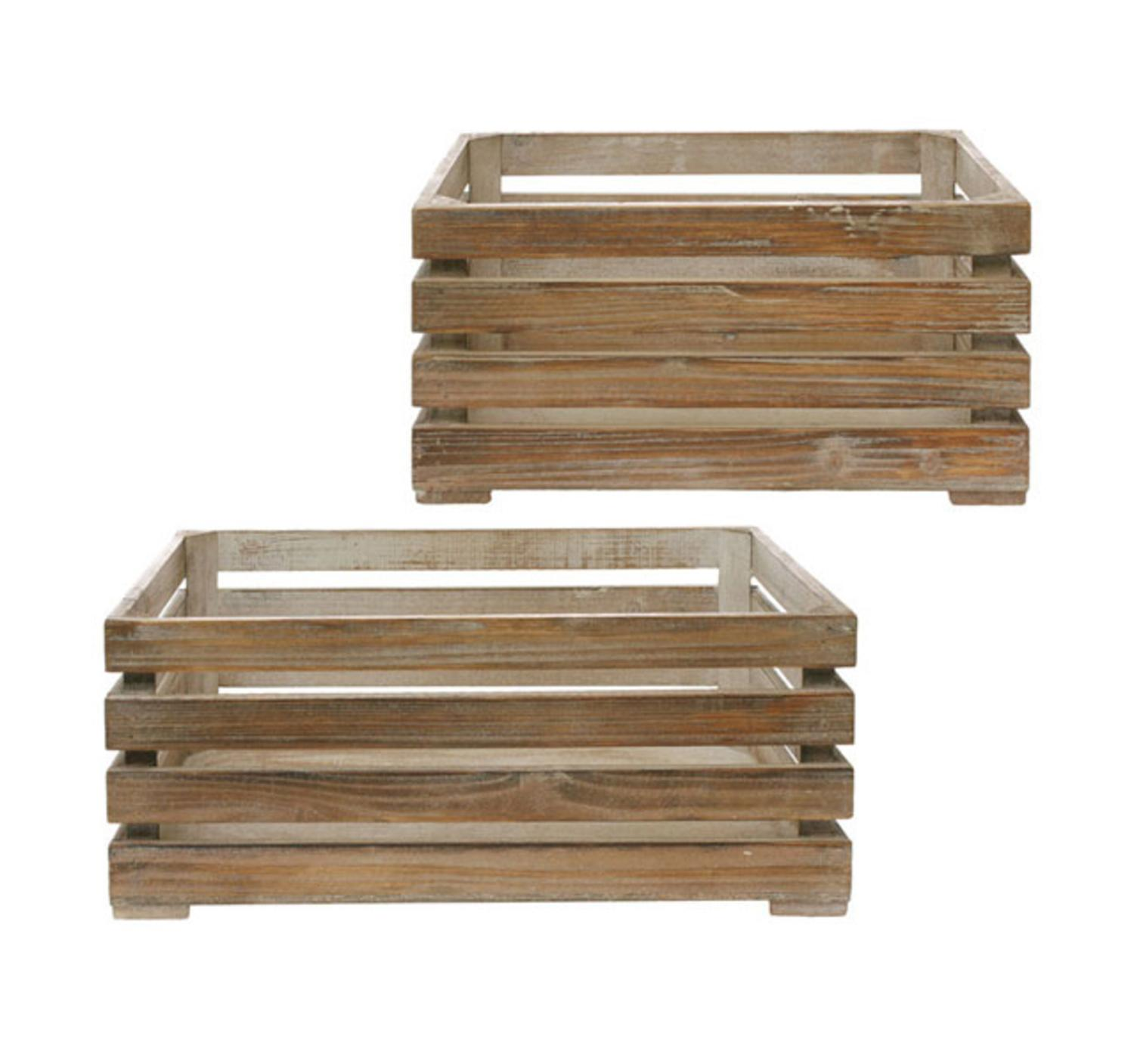 Set of 2 Tea Garden Country Wooden Storage Box Nesting Crates 18""