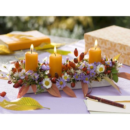 Northlight Seasonal 'Floral and Berries Candle Centerpiece' Photographic Print on - Halloween Floral Centerpieces